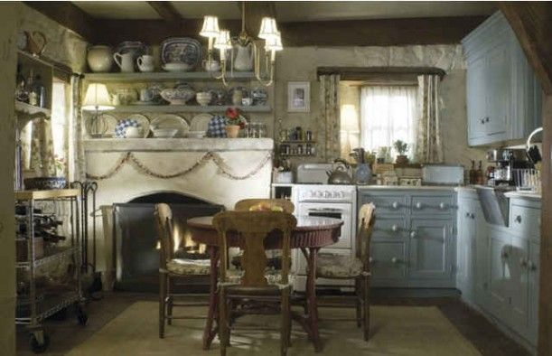 The Holiday cottage. Lovely stills of the sets courtesy Columbia Pictures. They're wonderful because they show us details in the rooms that weren't shown in the movie itself, like the raised beamed ceilings in the bedroom.