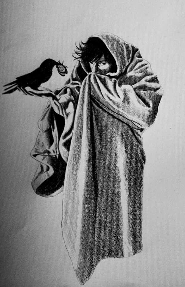 #drawing #illustration #disegno #illustrazione #art #arte #crow #corvo #pencil #sketch #self #portrait
