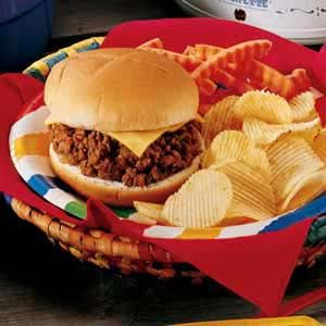 Sloppy Joes-easy in the crockpot.  Throw in your raw hamburger, fine chopped veggies, plenty of Chili sauce and Voila!!!  Stir and recover half hour before eating.  Serve on buns of choice
