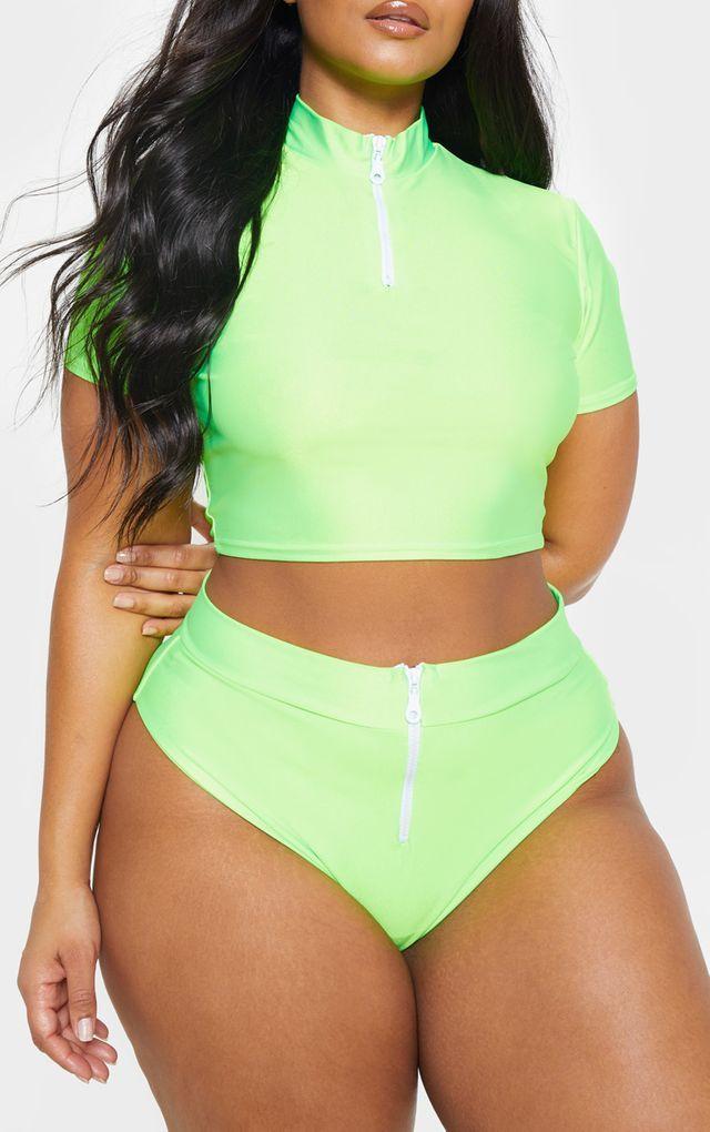 Plus Bikiniunterteil mit Reißverschluss in Neongrün
