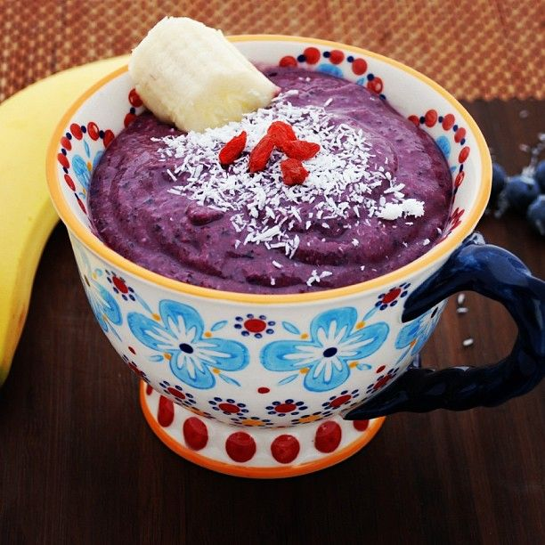 Coconut Blueberry Baobab Bowl.  Superfood goodness in one little cup.  1 cup frozen blueberries, 1 banana, 1 Tbsp. almond butter, 1 tsp. baobab powder, 1 Tbsp. shredded coconut.