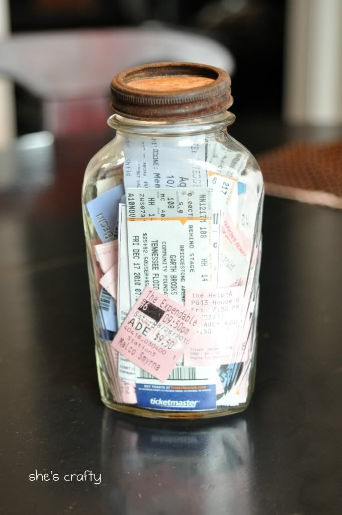 Start a ticket memory jar. Play tickets, movie stubs, hotel key cards, and concert tickets. Each is a memory and represents your life's journeys. Love this simple idea. Note the rusty lid <3