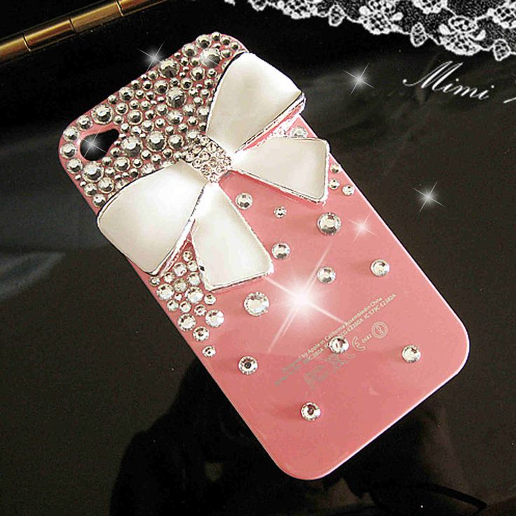 White Bow Bling Crystal pink iPhone 4 hard Cover Case. $13.98, via Etsy.