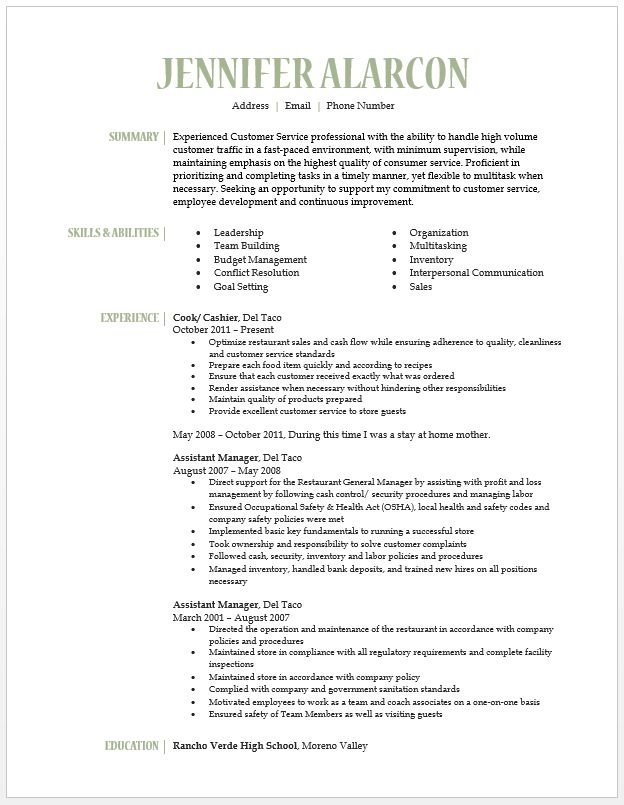 11 best Resume images on Pinterest Gray, Hunting tips and - restaurant resume skills