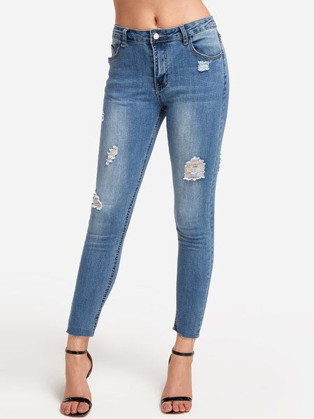 f0715a95e11ede Light Blue Ripped Bodycon Long Jeans - US 19.95