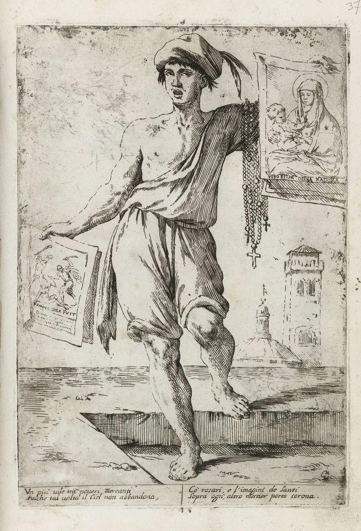 Verkoper van heiligenprenten en rozenkransen, Giuseppe Maria Mitelli, 1660