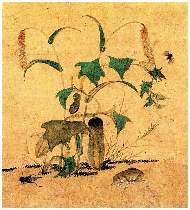(Korea) 오이와 개구리 by Lady Shin Saimdang (1504-1551). 34.0× 28.3cm. colors on paper. National Museum of Korea.