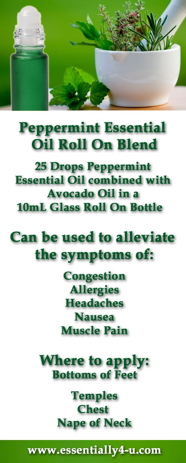 Peppermint Essential Oil Roll on Blend:  25 Drops Peppermint Essential Oil combined with  Avocado Oil in a 10mL Glass Roll On Bottle   Can be used to alleviate the symptoms of: Congestion, Allergies, Headaches, Nausea, Muscle Pain.  Where to apply: Bottoms of Feet, Temples,  Chest, Nape of Neck.  For more information on Holistic Living visit www.E4ULIFE.com