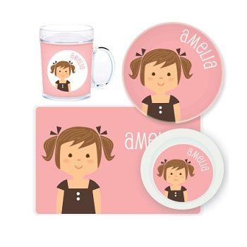 Girl Personalised Kids Mealtime Set $32.95 - $39.95 #sweetcreations #baby #toddlers #kids #personalised
