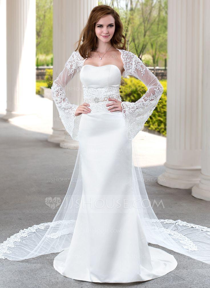 Trumpet/Mermaid Sweetheart Watteau Train Satin Tulle Wedding Dress With Lace Beading (002004482) - JJsHouse