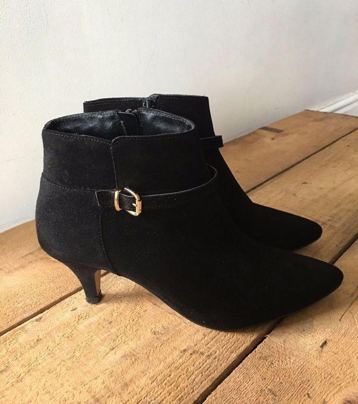 UK SIZE 4 WOMENS JONES BOOTMAKER BLACK SUEDE ANKLE BOOTS STILETTO HEEL BUCKLE  | eBay