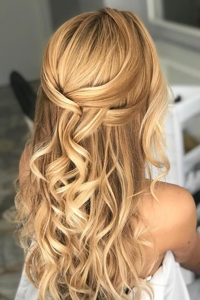 30 Cute And Easy Wedding Hairstyles Easy Wedding Hairstyles Elegant Simple Half Up Half Down With Loose Curls On Blonde Hair Marianna Zambenedetti We New Si Down Hairstyles Easy Hairstyles Elegant Hairstyles