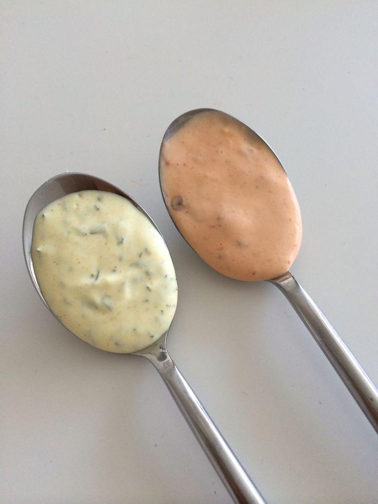Chili-mayo og bearnaise-mayo - mums!