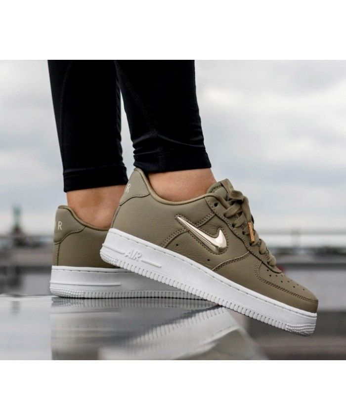 3bab56fd8236 Nike Air Force 1 07 Premium Lx Neutral Olive Metallic Gold Star ...
