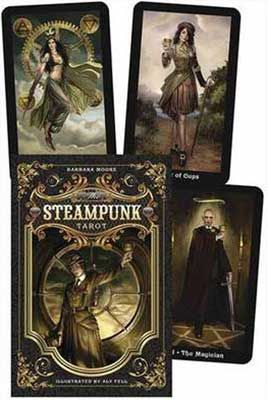 Steampunk Tarot & Book by Barbara Moore  The Steampunk Tarot deck offers a glimpse of the future through a lens to the past. Retooling the gears of the Rider-Waite tradition, each card's intricate artwork depicts a scintillating fusion of man and machine, nature and technology, science and alchemy, romance and fashion. The included manual offers tips, original spreads, and guidance in card interpretation.