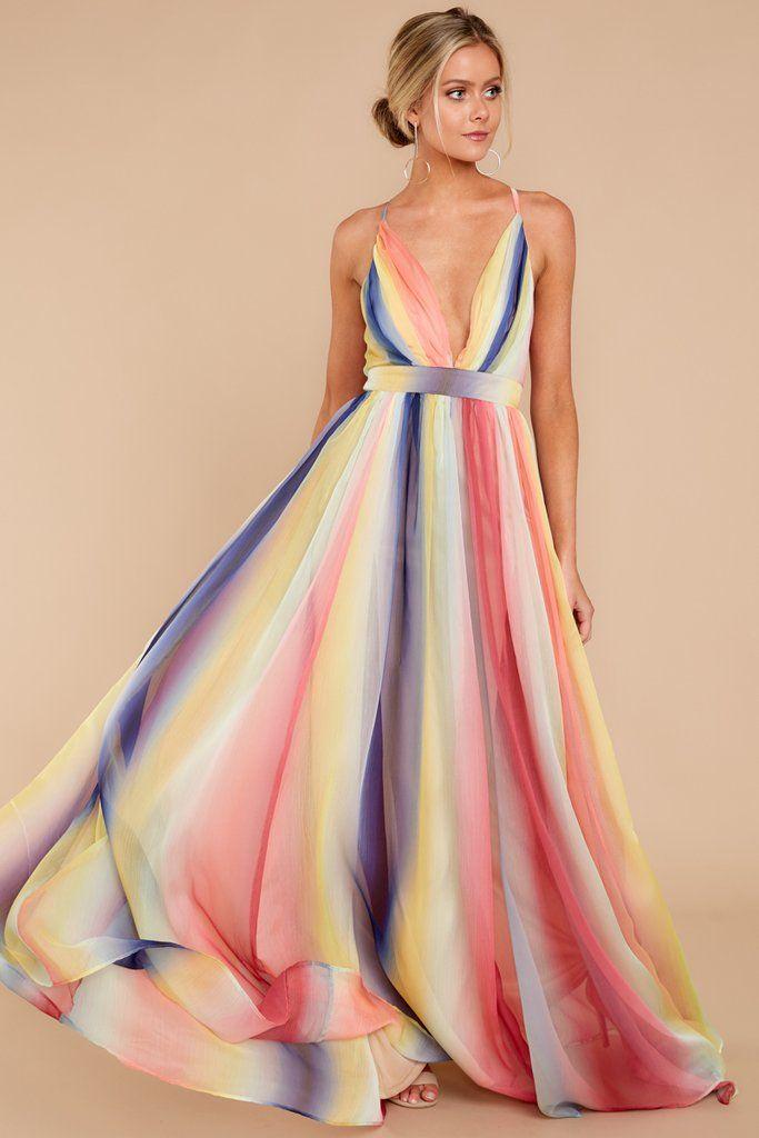 86549136e5cb Trendy Rainbow Stripe Maxi Dress - Cute Dress - Dress - $84.00 – Red Dress  Boutique