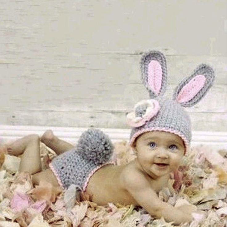 لطيف الأرنب الرضع طفل مجموعة الملابس محبوك الأرنب حلي لينة اليدوية الكروشيه الوليد التصوير الدعائم الصورة 0-12 أشهر