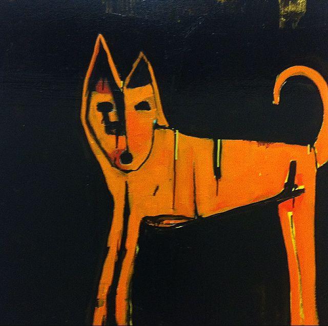 Dingo  - enamel on linen- (100 x 100 cm) sold