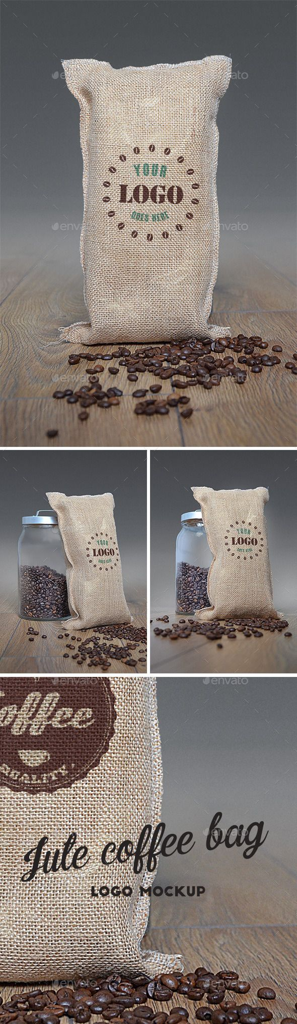 Photorealistic Jute Coffee Bag Logo Mockup Set – perfect to present your logo design!  - 3 .PSD files - 300 dpi - based on photo (background and jute bag are one layer) - 2000×3000 px - based on Smart Objects - easy to use - instruction included.