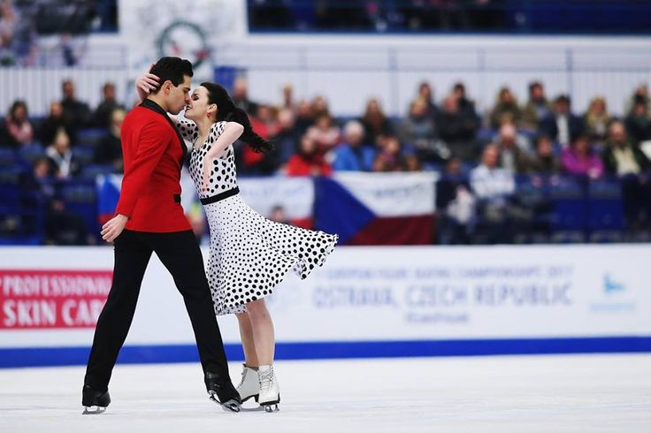 Anna Cappellini and Luca Lanotte of Italy compete in the Ice Dance Short Dance during day 2 of the European Figure Skating Championships at Ostravar Arena on on January 26, 2017 in Ostrava, Czech Republic. (Photo by Joosep Martinson - ISU/ISU via Getty Images)