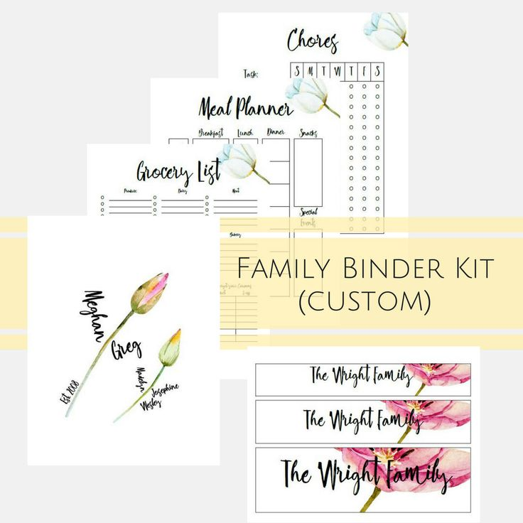 Custom Binder Cover and Inserts, Watercolor Flower Theme, Get Organized with these Beautiful Binder / Planner Inserts, Meals, Cleaning, etc. by MyBudgetBlueprint on Etsy