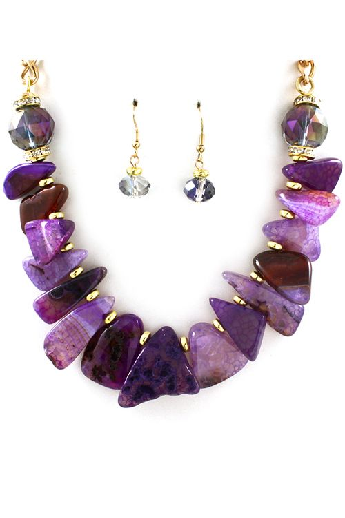 Sliced Agate Necklace in Amethyst on Emma Stine Limited