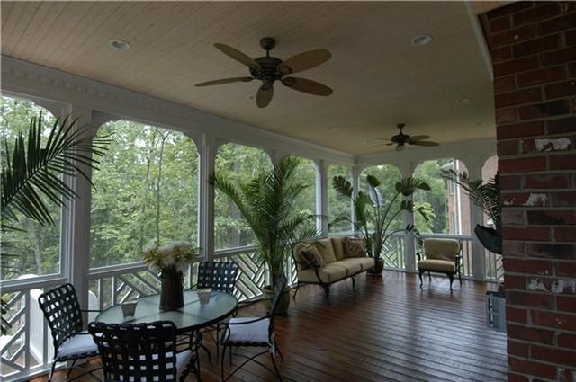 white coverd porches with ceiling fans   Photo Gallery – Porches & Screened Porches