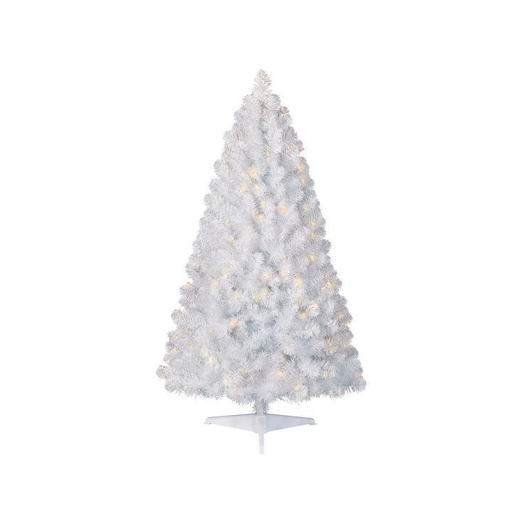 4.5ft Prelit Artificial Christmas Tree White Alberta Spruce Clear Lights - Wondershop