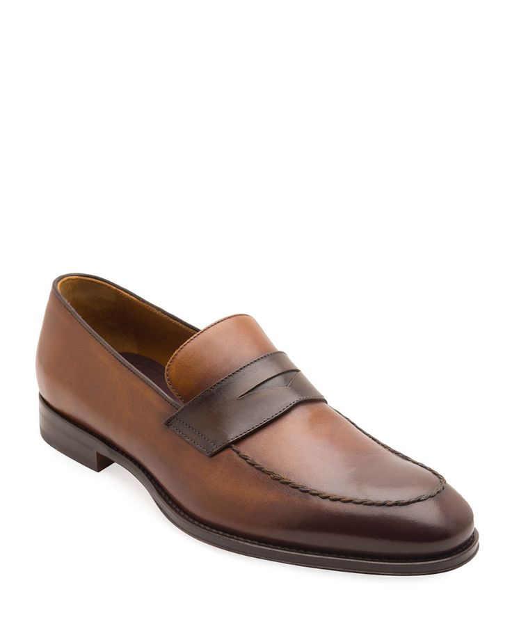 Bruno Magli Men's Fanetta Burnished Leather Penny Loafers ...