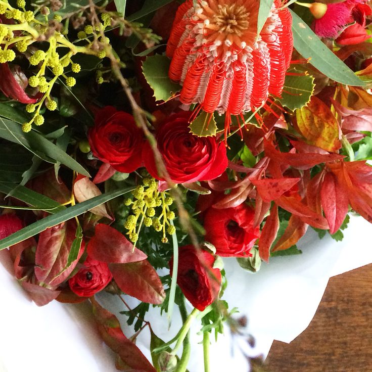 Red passionate flowers. Design by Bloom Tribe