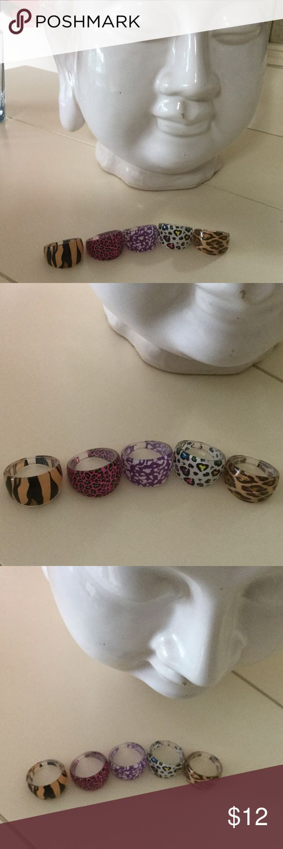 NWT five animal print acrylic rings A different animal print ring for any outfit. So fun to wear with summer and warm weather outfits. The rings are a size 7 Jewelry Rings