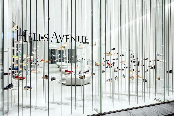 "HILLS AVENUE, Tokyo, Japan, ""White Forest Installation"", (Shoes appear to float), photo by Retail Focus, pinned by Ton van der Veer"