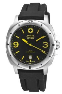 Wenger Swiss Military Men's 79364 Expedition Analog Watch Wenger. $117.00. Full sweep second hand. Swiss quartz movement. Shock & water resistant. Luminous numbers, hands, markers, yellow dial accent color. 3 year limited warranty. Save 40% Off!