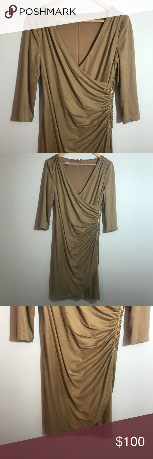"""Kay Unger Suede Wrap Dress Size 6 Camel Cocktail Excellent condition. No flaws. Gorgeous Camel Colored  wrap dress with a zipper (for looks) on the side. Perfect for upcoming holiday parties! Size 6. Measurements taken laid flat: bust approximately 17"""", Waist approximately 15"""", length approximately 39"""" Kay Unger Dresses Long Sleeve"""