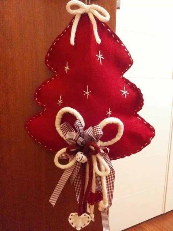 Adornos navideños con fieltro Navidad Pinterest - objetos navideos