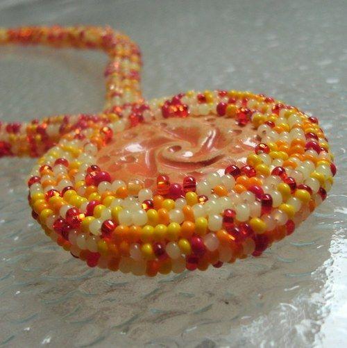 """SLuncem políbená""  (Necklace of beads sewn) od KatKyr"