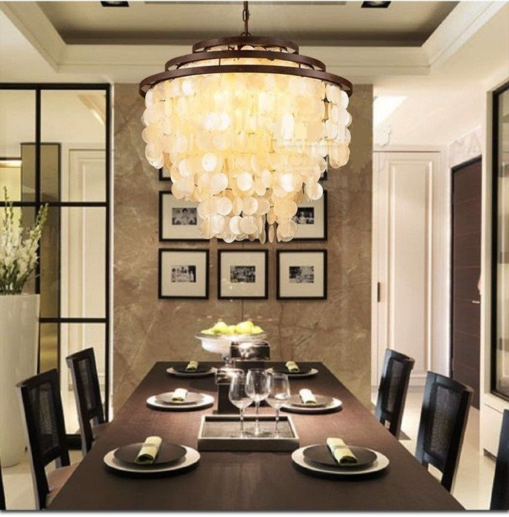 Wrought Iron Living Room Loft Foyer Dining Restaurant Shell Pendant Lamp