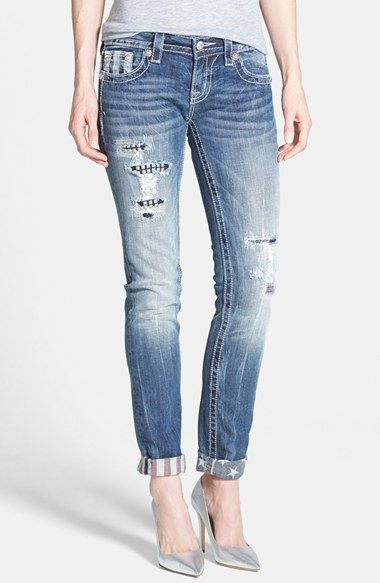 Women's Miss Me Embellished Distressed Roll Cuff Ankle Skinny Jeans