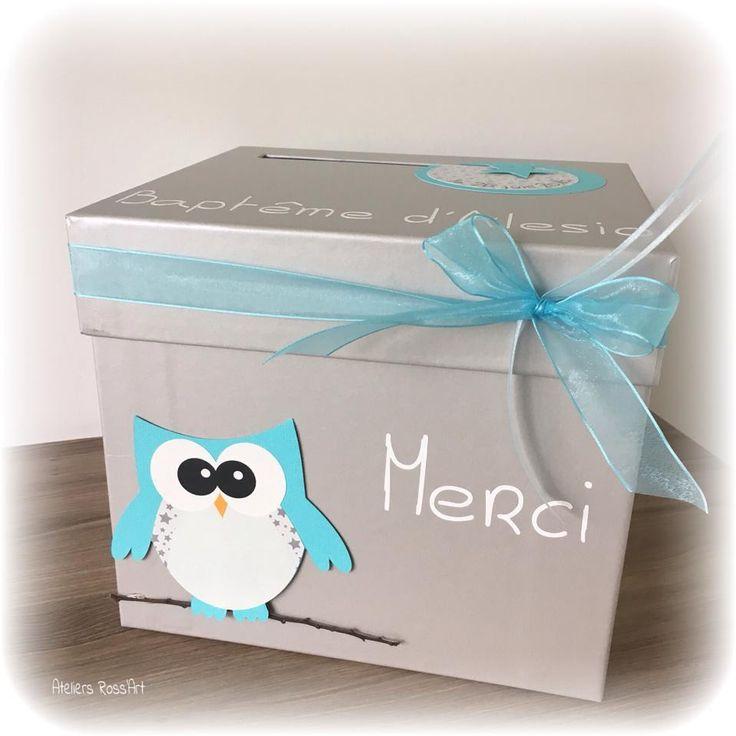 Urne - boite à enveloppes thème hibou étoiles à personnaliser