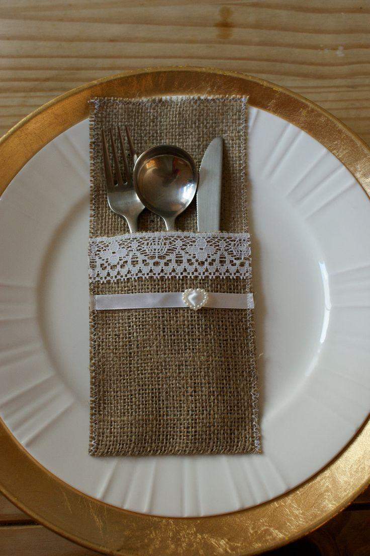 Arpillera cubiertos bolsillos tarjetas del por Littlewhiteboutique