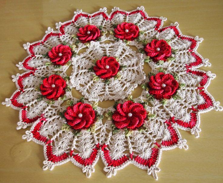 OS CROCHES DA ELSA: Idéias para o Natal 10 - Centro de Mesa com Flor C...