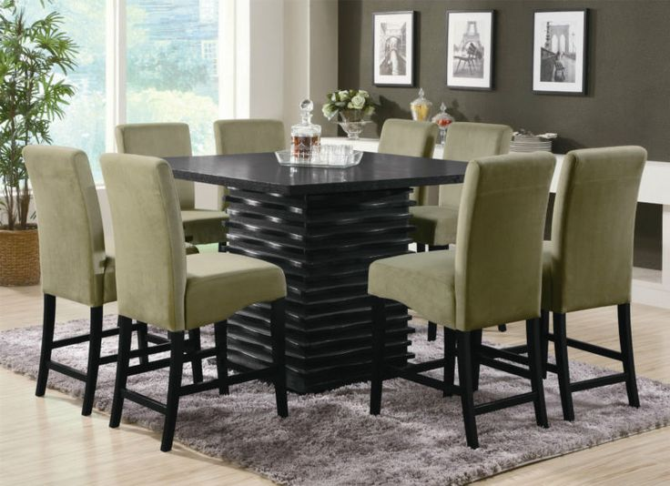 Contemporary Counter Height Black Dining Table Chairs Dining Room Furniture  Set