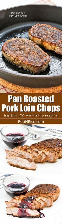 These tender and juicy Pan Roasted Pork Loin Chops are perfect for weeknight meals. Flavor them with your favorite dry rub. Only minutes to prepare. | http://RotiNRice.com