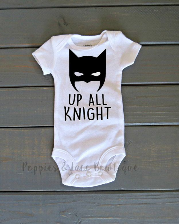 Up All Knight Onesie, Batman onesie, funny baby clothing, funny onesie