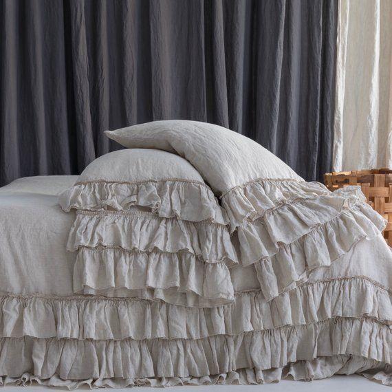 Linen Duvet Cover Set French Style Thick Ruffled Stonewashed Etsy Bed Linen Sets Linen Duvet Covers Linen Duvet