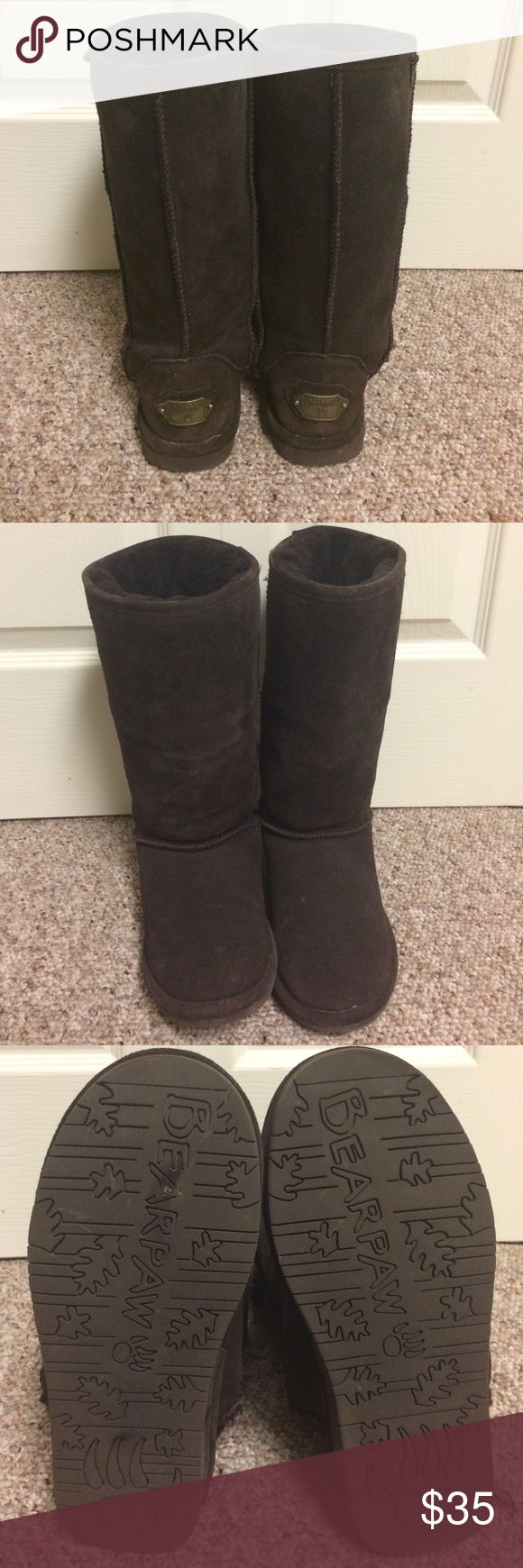BearPaw Brown Fur Lined Boots BearPaw fur lined boots in chocolate brown.  Barely worn as you can see from the bottoms.  Very slight marking and minimal wear on the suede as noted in the pictures.  Boots are fur lined and very warm! BearPaw Shoes Winter & Rain Boots