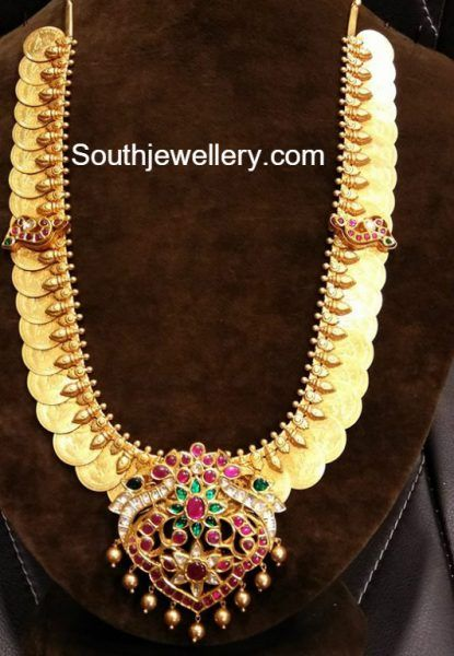 Antique Gold Lakshmi Kasu Haram with Kundan Pendant