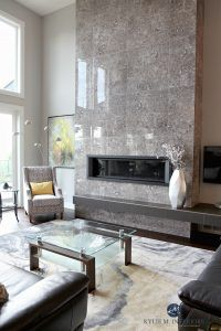 Contemporary design living room with tall tile fireplace with modern linear gas insert and floating hearth. Sherwin Williams Repose Gray. Kylie M Interiors E-decor and Design Online