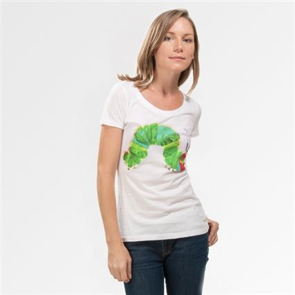 The Very Hungry Caterpillar book cover women's t-shirt   Outofprintclothing.com <--The Very Hungry Caterpillar was the first book I read when I was little