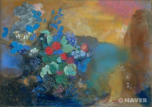 <오딜롱 르동(Odilon Redon) '꽃 사이에 있는 오필리아(Ophelia among the Flowers'> 이 작품은 1905년경~1908년경에 그려진 작품으로 런던 내셔널 갤러리에 있다. 이 작품을 보면 오필리아라는 여인의 모습이 배경처럼 뚜렷하게 부각을 시키지 않아 꽃이 더더욱 눈에 띄는 작품이다. 보통 사람과 꽃이 있어도 사람을 흐리게 그린 것은 잘 보지 못했었는데 뭔가 한참을 보게 만드는 매력적인 작품인 것 같다.